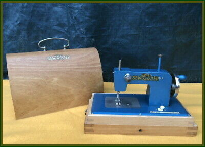 Antique Kay-An-Ee ~True-Blue-Sew Master~ Miniature Portable Toy Sewing Machine