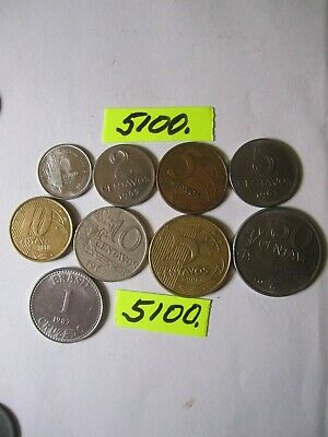 9 x  coins from   Brasil    18   gms      Mar5100