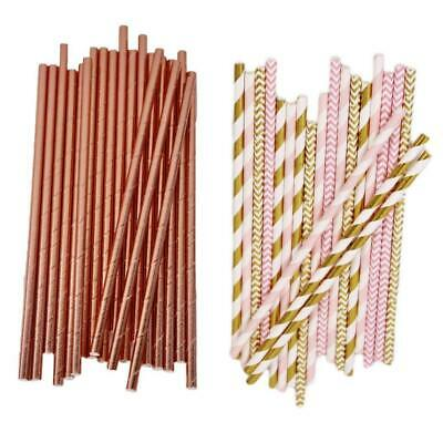 Rose Gold Pink Drinking Paper Straws Food Safe Ink Straw Birthday Party Wedding