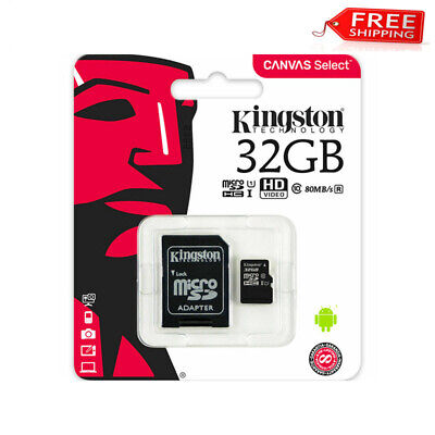 New Kingston 32GB Micro SD Memory Card 32G Canvas Select Plus 100MB/S A1 C10