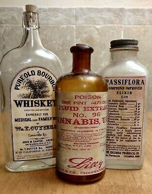 Old Medicine Bottle Hand Crafted,Large Cannabis,Elixir,Family Medical Whiskey