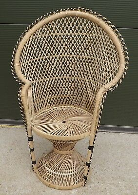Antique Style Wicker-Work Small Peacock Chair for Child or Doll / Teddy Bear
