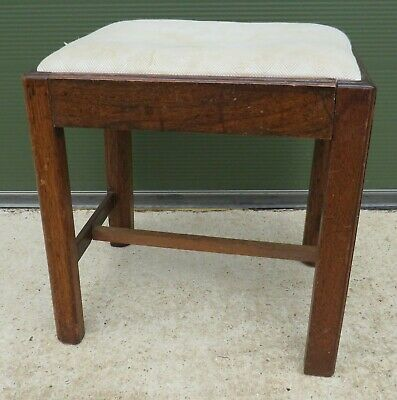 Antique Georgian Oak Footstool Stool with Upholstered Top