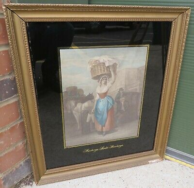 Antique C19th Gilt-Framed 'Cries of London' Engraving After F. Wheatley Print
