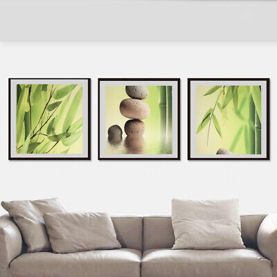 3Pcs Modern Art Oil Painting Canvas Picture Bamboo Wall Home Decor 40x40cm