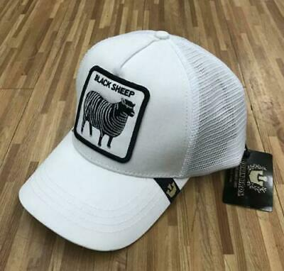 2ef0199128a14 GOORIN BROS TRUCKER Hat Snapback Cap BLACK SHEEP-WHITE ANIMAL FARM Gallo  Beaver