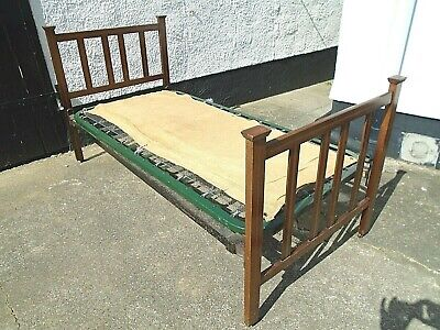 3' Antique Edwardian Inlaid Mahogany Single Bed Stead Frame Sprung Base Vintage