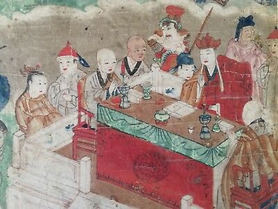 Antique Chinese 19th Century ink and colour on paper, unframed, Altar scene