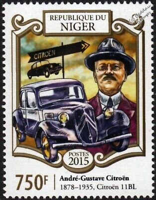 André-Gustave Citroën & CITROEN BL 11 Car Automobile Stamp (2015 Niger)