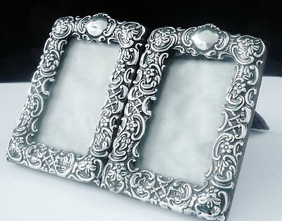 Pair of Antique Silver Photograph Frames, Birmingham 1900, William Devenport