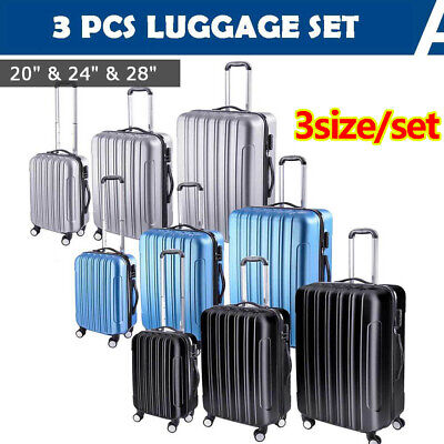 3pcs Travel Luggage Set Lightweight Trolley Suitcase Lock Carry On Bag Hard Case
