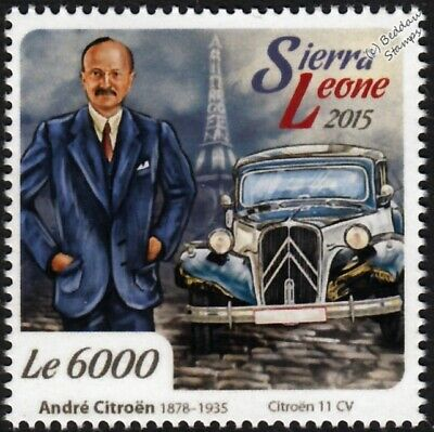 André-Gustave Citroën & CITROEN 11CV Traction Avant Classic Car Stamp (2015)