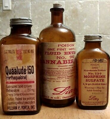 """3 Lg. Old Medicine Bottles Hand Crafted, Cannabis Quaalude,Morphine 6""""-7"""" (NICE)"""
