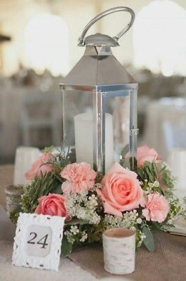 Large Chrome Lantern Stainless Steel Silver Glass & Metal Candle Holder for HIRE