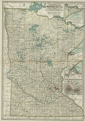 MINNESOTA Map: Authentic 1897 (Dated) Towns, Counties, Railroads, Topography