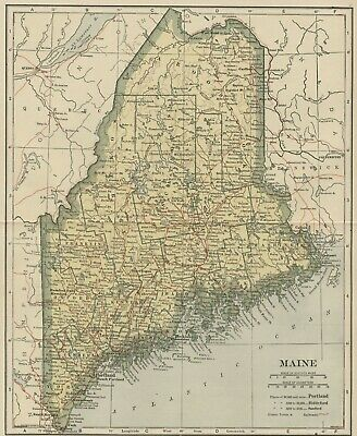 MAINE Map: 100 Years Old showing Counties, Towns, Topography, Railroads