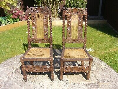 Pair antique bobbin carved oak chairs