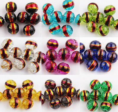 20/50Pcs Gold Plated Side Round Beads Czech Glass Loose Spacer DIY Beads 8mm
