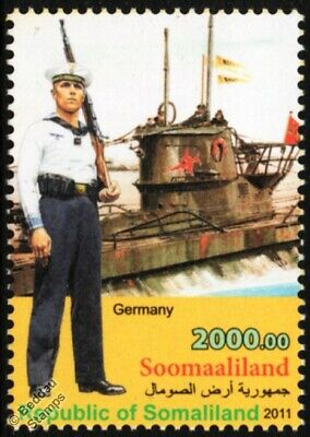 WWII German Navy Seaman Uniform Stamp / U-Boat Type VII Submarine Warship