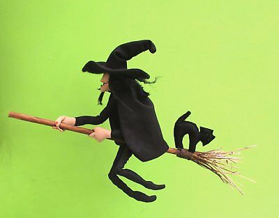 Witch cloth doll sewing pattern.  Mistress Cackle complete with broom and cat