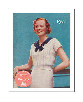 1930s Cheerful Checked Sweater Vintage Knitting Pattern Copy