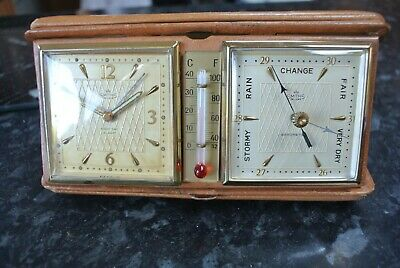 Vintage 1940s SMITHS DELUXE Travel Alarm Clock + Thermometer + Barometer