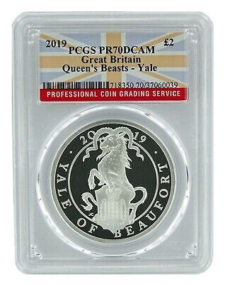 2019 Great Britain 1oz Silver Queens Beast Yale PCGS PR70 DCAM - Flag Label