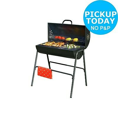 Charcoal Oil Drum BBQ with Warming Rack.