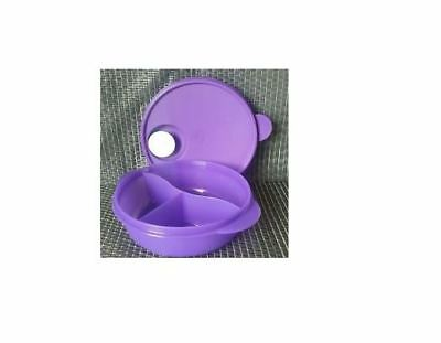New TUPPERWARE Crystal Wave Divided Round Dish Purple Microwave Vent Container