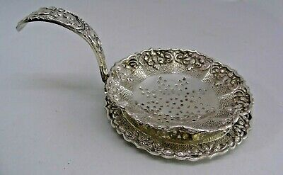 Ornate 800 Silver Tea Strainer with Drip Tray - stamped 800 PSN DELUX