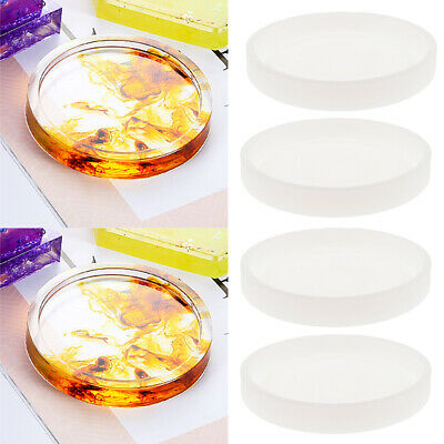 4x Round Silicone Mold Coaster Resin Casting Jewelry Making Mould Tool DIY