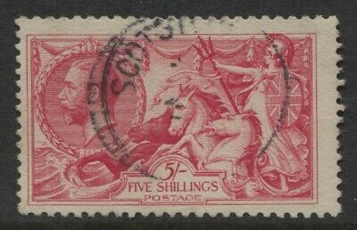 GB 1919 5/- Seahorse Sc #180 Fine Used CDS Cancel CV $115