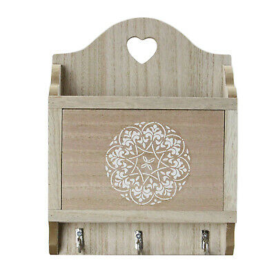 Wall Mounted Wooden Keys Box 3 Hooks Holder Letter Storage Tray Heart Home Decor