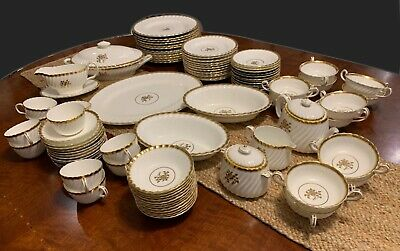 101 pc Minton GOLD ROSE China complete service for 12 with serving pieces H-4680