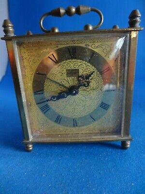Vintage JERGER Wind Up Carriage Table Alarm Clock,Made In Germany