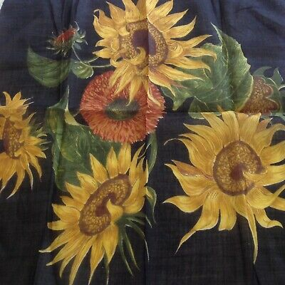 Vintage Printed Handkerchief - Stunning Sunflowers - Hand Rolled Edges - Unused