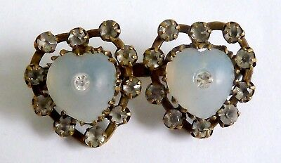 A Victorian Two Hearts Brooch With White Diamantes & Opalescent Glass