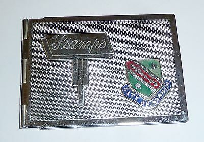 An Art Deco Chrome Plated Stamp Case With City Of Bangor Enamel Plaque