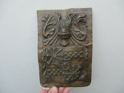 A Victorian Brass Armourial Coat of Arms Plaque c1840