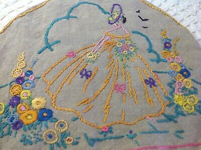 Stunning Hand Embroidered Crinoline Lady & Garden Teapot Cosy Cover On Dark Ecru