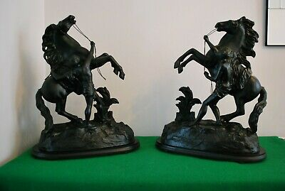 Large Antique Pair of Spelter Marley Horses