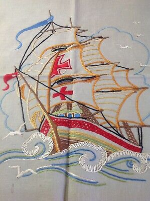 Vintage Hand Embroidered Picture Panel- Ship Galleon On The High Seas / Seagulls