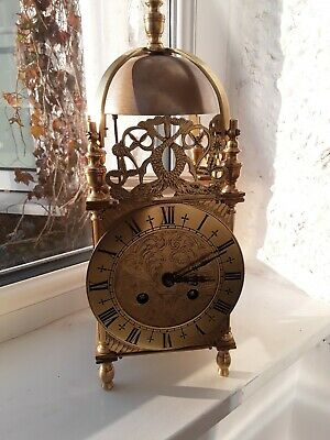 Antique French Mantle Clock   8day  striking clock very heavy brass  working