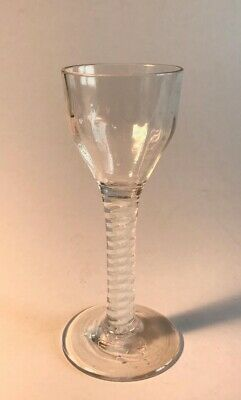 Antique Georgian Wine Cordial Glass Opaque Cotton Twist Stem 18th Century
