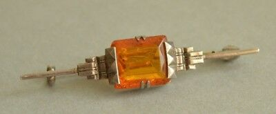 Art Deco Vintage German 830 Solid SILVER Faux Amber Bar Pin Brooch