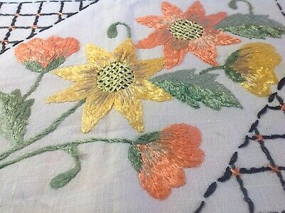 Vintage Hand Embroidered Cushion Cover - BEAUTIFUL RAISED FLOWERS - STUNNING