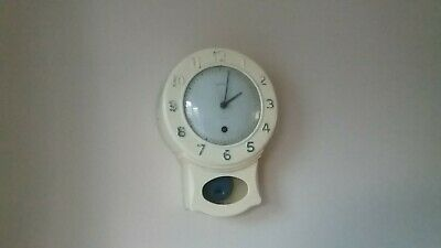 Vintage Smiths 8 Day Bakelite Kitchen Clock Cream & Blue Overwound