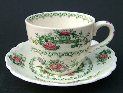 Vintage 1930's Crown Ducal Chinese Garden 100ml Coffee Cups & Saucers - in VGC