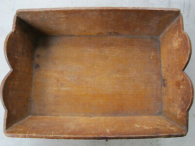 Antique Primitive Wood Apple Box Tray W Heart Shoulder Ends Canted Sides Aafa
