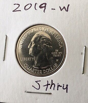 (1) Mint Error 2019-W West Point Mint Lowell, Mass. National Park Quarter Unc/bu